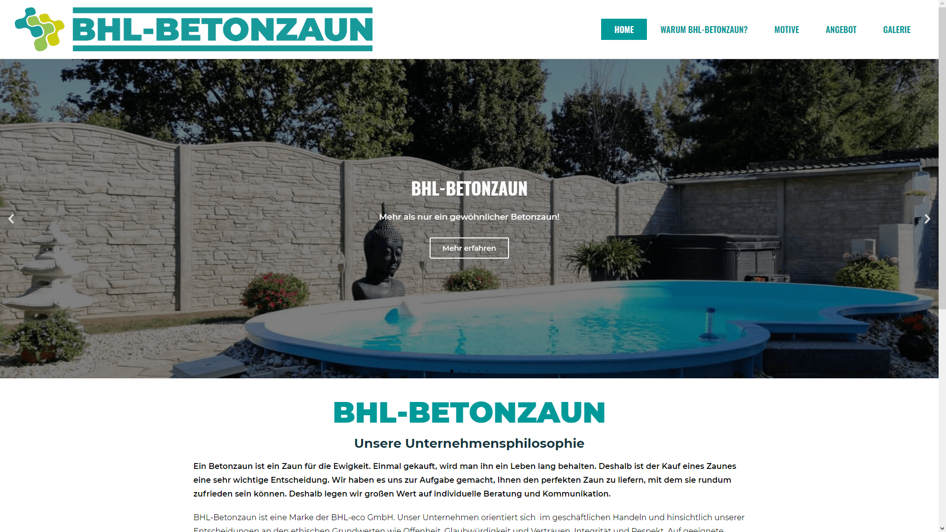 BHL-Betonzaun Website
